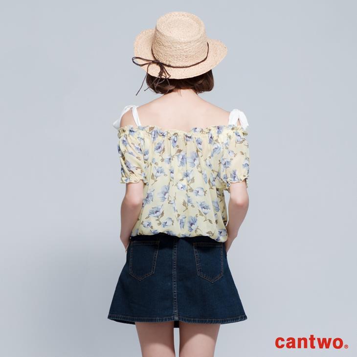 cantwo雪紡印花兩件式短袖上衣(共三色) 3