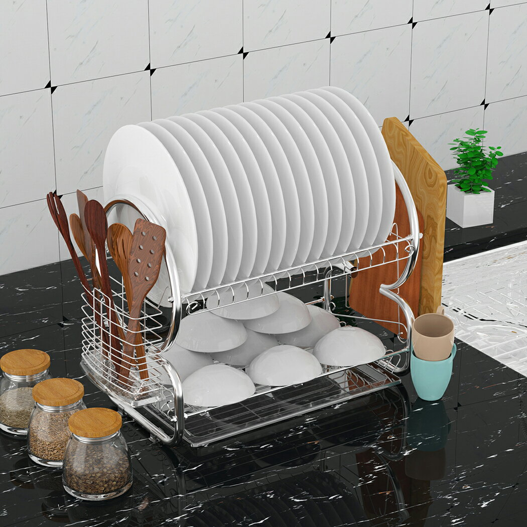 Kitchen 2 Tier Stainless Steel Dish Rack Cup Drying Rack Drainer Dryer 0