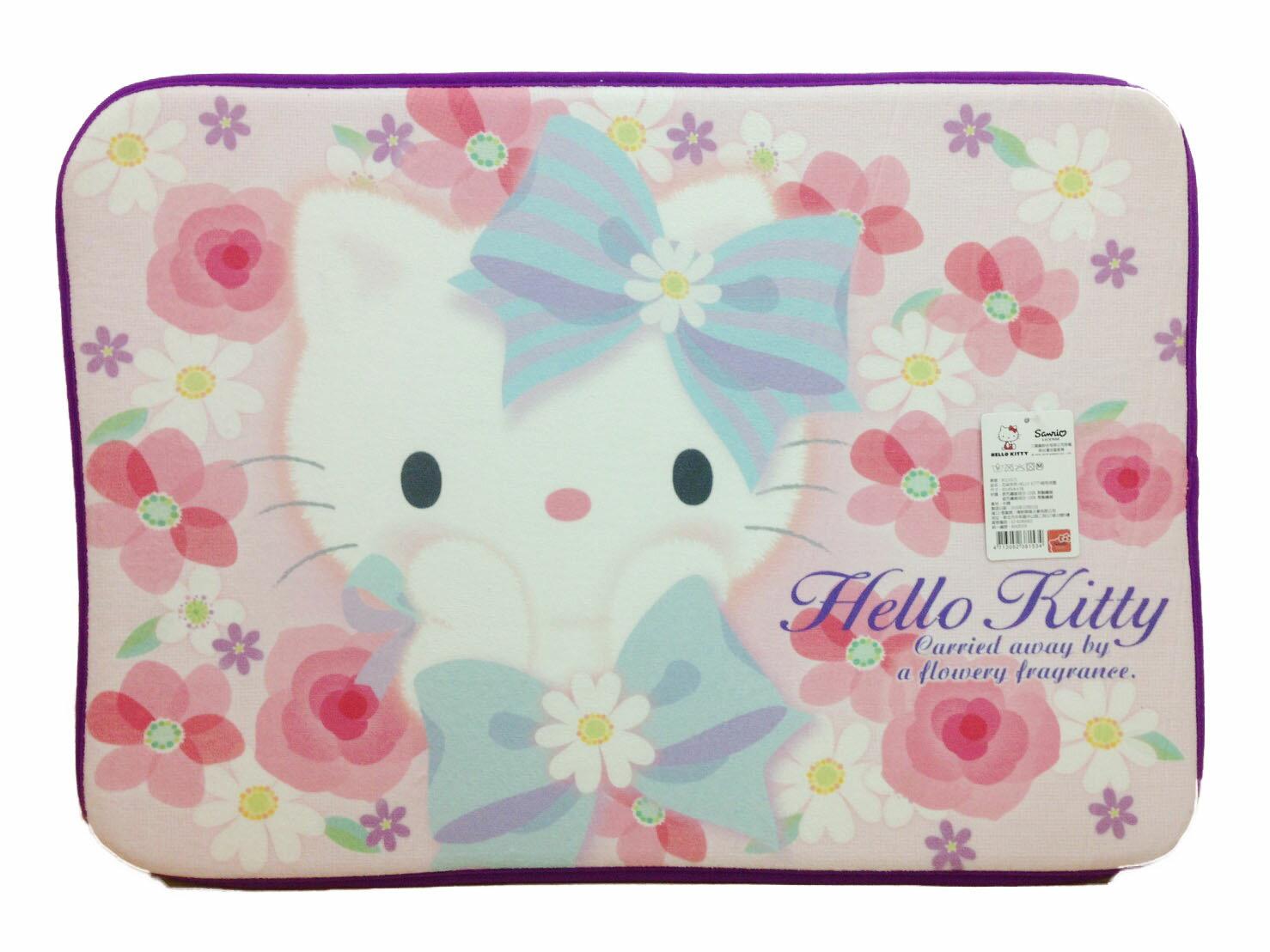 【真愛日本】17020800001花朵系列絨毛地墊-KT紫邊    三麗鷗 Hello Kitty 凱蒂貓  地墊 腳踏墊 生活用品
