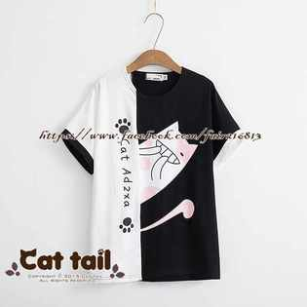 《貓尾巴》TS-0741日系文藝卡通貓印花短袖上衣(森林系日系棉麻文青清新)