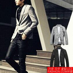 DITION 韓系腰身剪裁單釦微光澤西裝外套-共二色