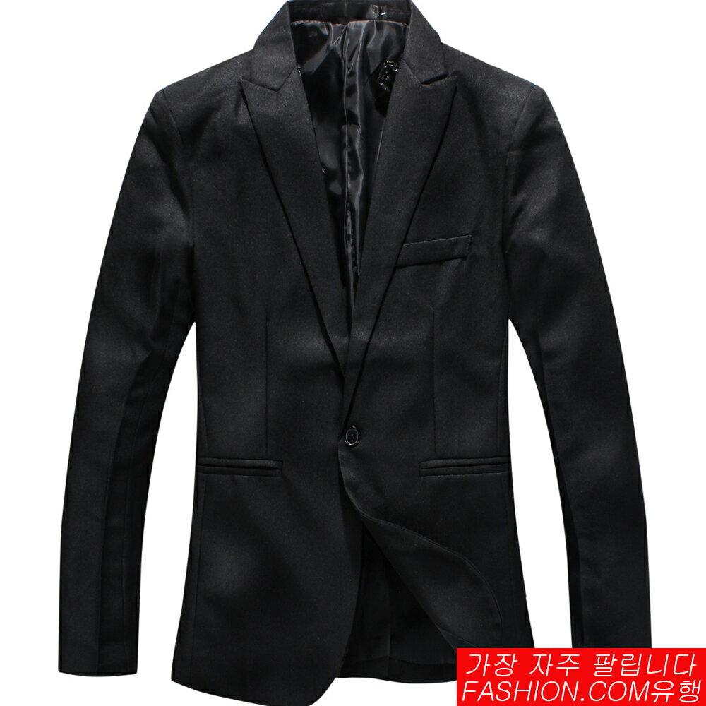 DITION 韓系劍領剪裁單釦西裝外套FIT緞面內裡 0