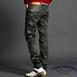 DITION 英倫上蓋口袋卡其斜紋工作褲 合身版型
