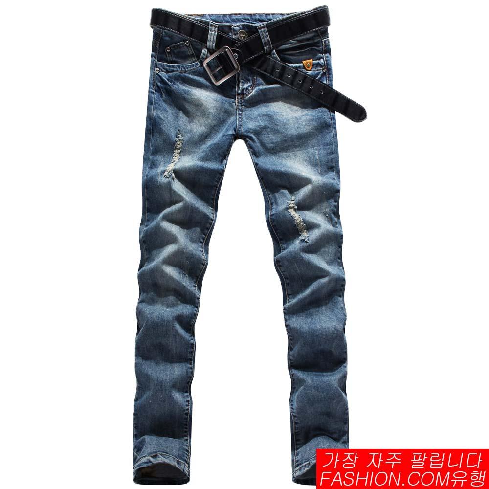 DITION小釦子皮革復古微刷破牛仔褲 彈性水洗