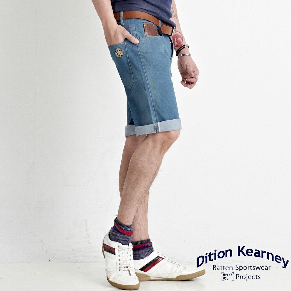 DITION SHOP STAR軍式鐵標彈力牛仔短褲