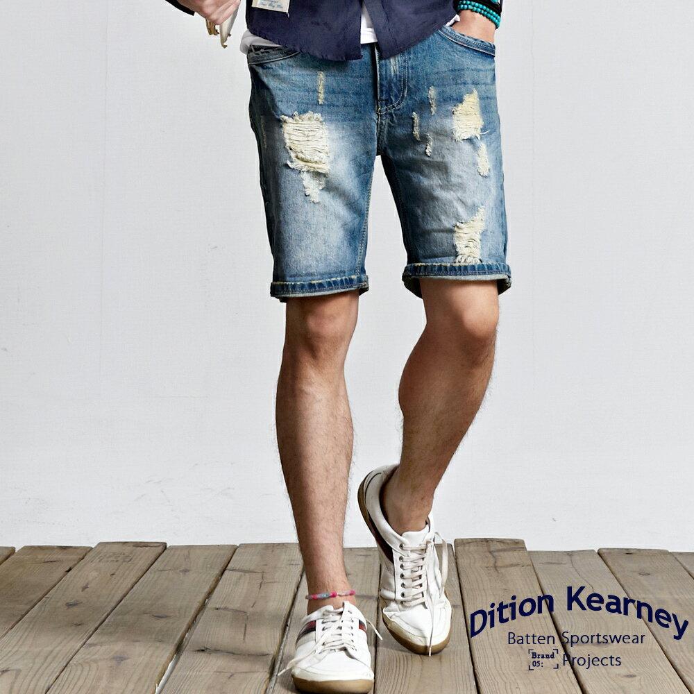 DITION SHOP復古微刷破JEANS鐵標牛仔短褲