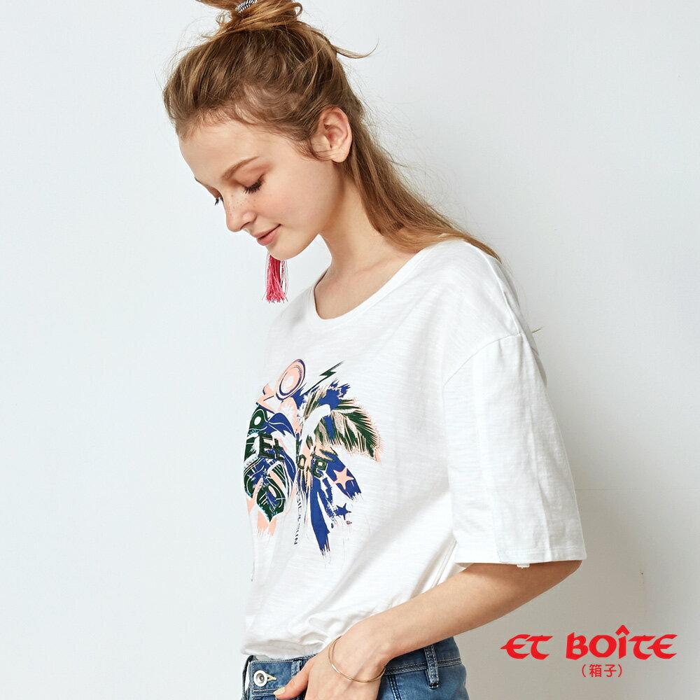 【春夏新品】夏日音樂派對印花開衩袖T恤(白) - BLUE WAY  ET BOiTE 箱子 1