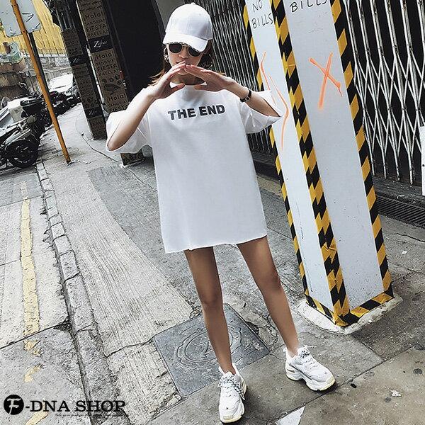 F-DNA★前英字後割破卡通圓領五分袖上衣T恤(3色-M-2XL)【ET12696】 4