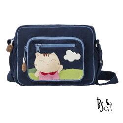 【ABS貝斯貓】貓布包斜側包 可愛貓咪拼布 肩背包 斜揹包(藍色88-203)【威奇包仔通】