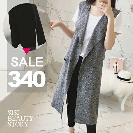 SISI~C6021~原宿風無袖馬甲西裝寬鬆顯瘦中長款罩衫外套