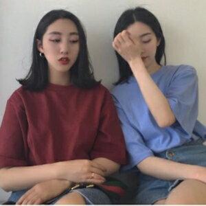 美麗大街~KAA225~2017夏裝  款T卹女 寬鬆圓領顯瘦純色短袖t恤衫