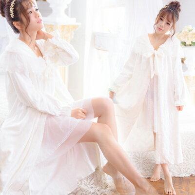 (少量)頂級壓花絨~超細緻蕾絲披風-長袖睡衣