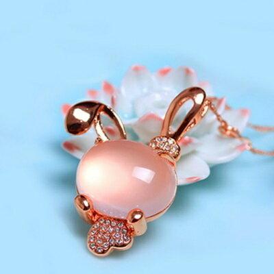 玫瑰金項鍊 純銀芙蓉石鑲鑽吊墜~ 精緻可愛兔子情人節生日 女飾品73fk11~ ~~米蘭