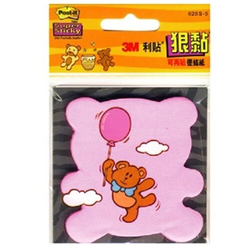 【3M】 625S-5熊 狠黏可再貼造型便條紙/便利貼