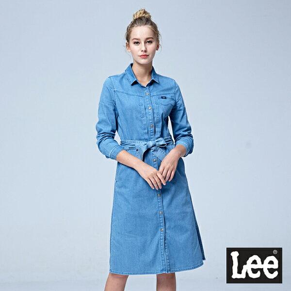 Lee牛仔長袖洋裝101+-淺藍色洗水