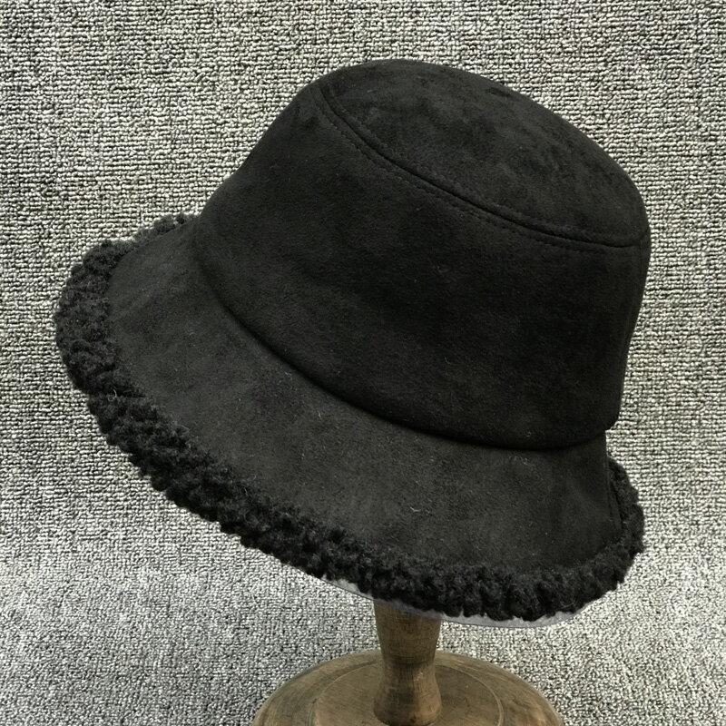 麂皮絨帽子女冬季羊羔毛漁夫帽女冬天可愛加厚保暖韓版潮防寒盆帽1入