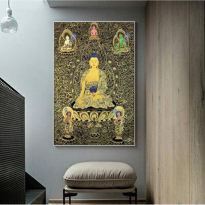 佛畫 佛教唐卡客廳鎮宅掛畫 佛像信仰玄關供奉畫像 釋迦摩尼菩薩信仰畫『CM36524』