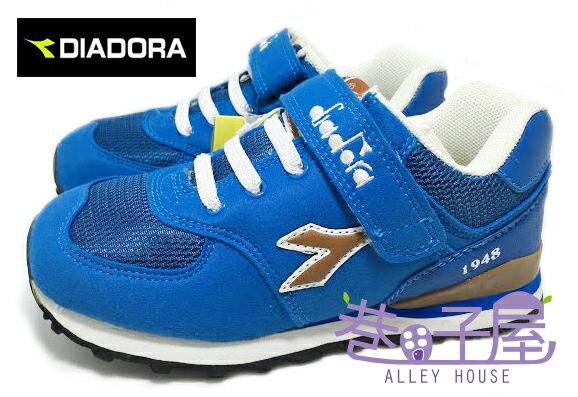【巷子屋】義大利國寶鞋-DIADORA迪亞多納 男童復古風四大機能量彩運動慢跑鞋 [9256] 藍 超值價$498
