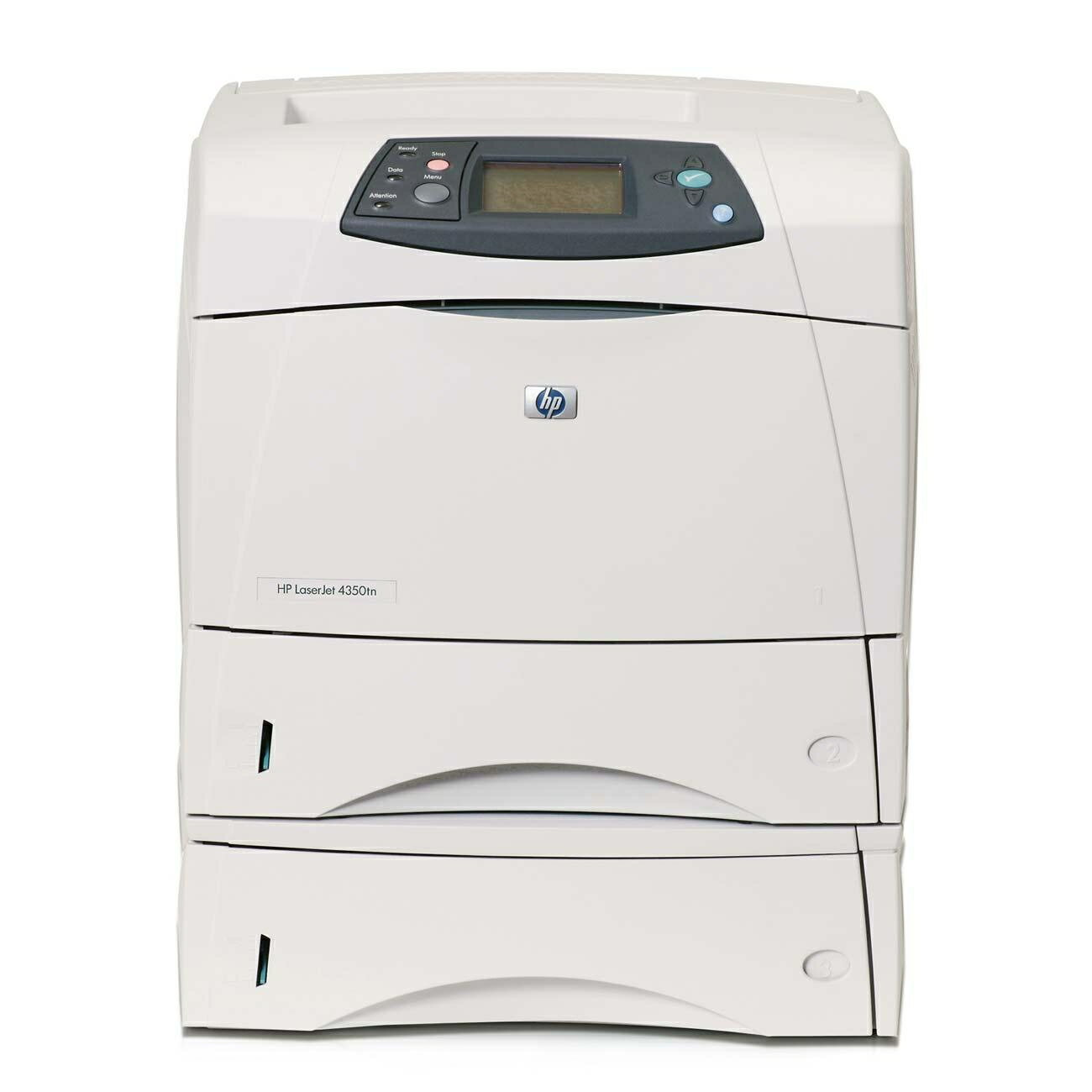 HP LaserJet 4350TN Laser Printer - Monochrome - 1200 x 1200 dpi Print - Plain Paper Print - Desktop - 55 ppm Mono Print - Letter, Legal, Executive, Statement, Envelope No. 10, Monarch Envelope, Custom Size - 1100 sheets Standard Input Capacity - 250000 Du 0