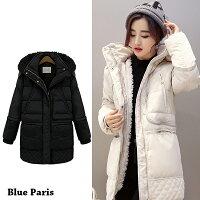 保暖服飾推薦羽絨外套 - 連帽羽絨鋪棉羊羔毛保暖大衣【29032】藍色巴黎《2色:M~2XL》現貨+預購