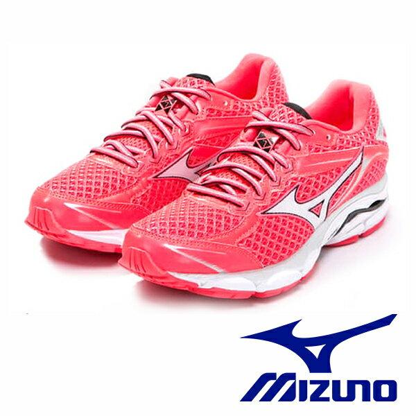 【MIZUNO 6折│全店免運】MIZUNO WAVE IMPETUS 4 (W) 一般型女運動鞋 桃紅x銀 J1GD161304