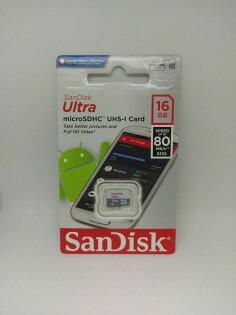 SanDisk快閃記憶卡UltramicroSDUHS-ICard16GB80MBs