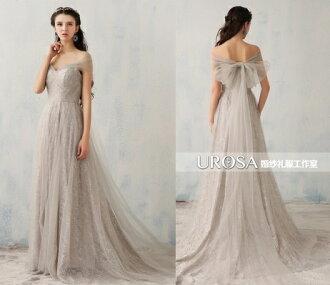 天使嫁衣【UR030】訂製款淺灰色低胸包肩小拖尾婚紗禮服-下架