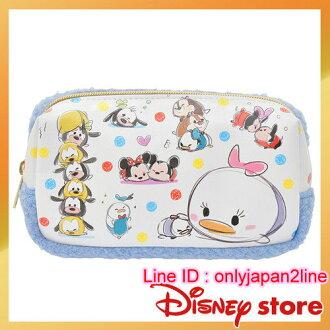 【真愛日本】16101300026專賣店皮革絨毛筆袋-TSUM 迪士尼 日本帶回  鉛筆袋 收納袋