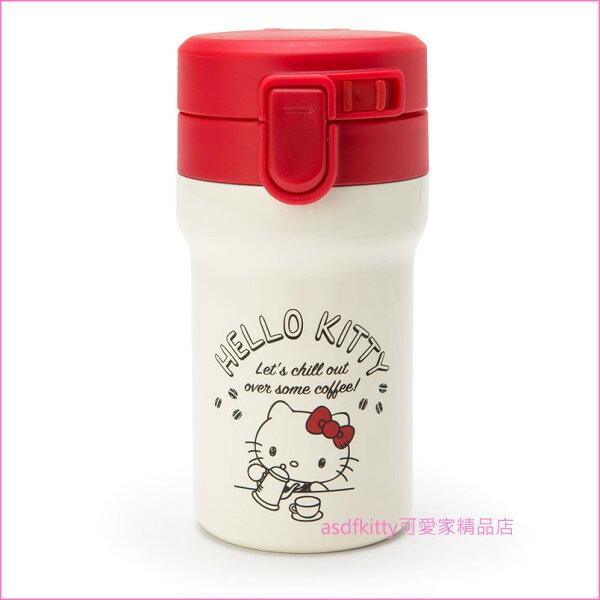asdfkitty可愛家☆KITTY咖啡不鏽鋼真空保溫保冷杯保溫瓶保溫壺-300ML-日本正版商品