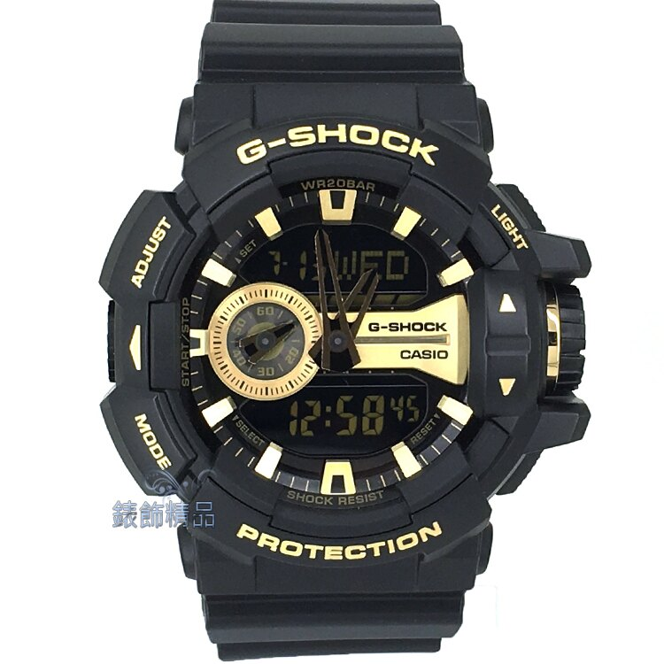 【錶飾精品】現貨CASIO卡西歐G-SHOCK大型錶冠設計 GA-400GB-1A9 金 全新原廠正品 生日情人禮品