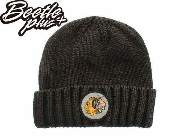 BEETLE MITCHELL&NESS NHL 芝加哥 黑鷹 咖啡色 素面 圓標 LOGO 毛線帽 針織帽 - 限時優惠好康折扣