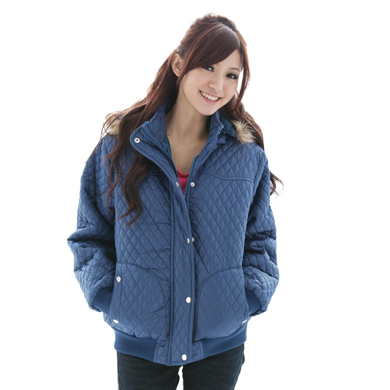 鋪棉外套--冬天的基本必備款-菱格鋪棉連帽毛邊PU鋪棉外套(黑.藍M-2L)-J44眼圈熊中大尺碼 1