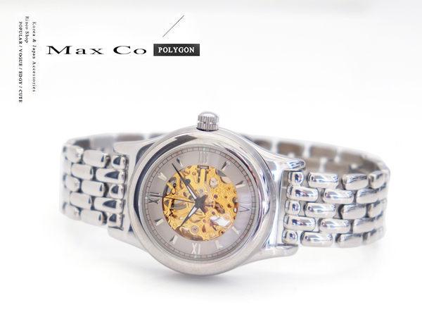 【完全計時】手錶館│MaxCo時尚鏤空雕花手動上鍊機械錶底蓋鏤空金色款MA2071-ST