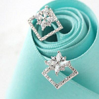 925純銀耳環鑲鑽耳飾~日系風靡方形 生日情人節 女飾品3色73hz68~ ~~米蘭 ~