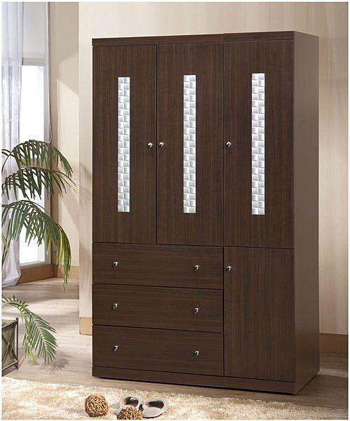 【尚品傢俱】338-01 洛德 胡桃4*7尺推門衣櫃收納櫃