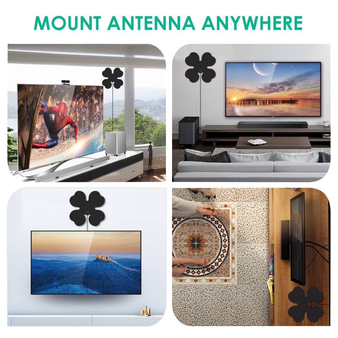 Kingbox TV Antenna Indoor Amplified Digital HDTV Antenna 80 Miles Range  1080p Full HD Antenna with Detachable Amplifier Signal Booster and 13 2FT  Coax