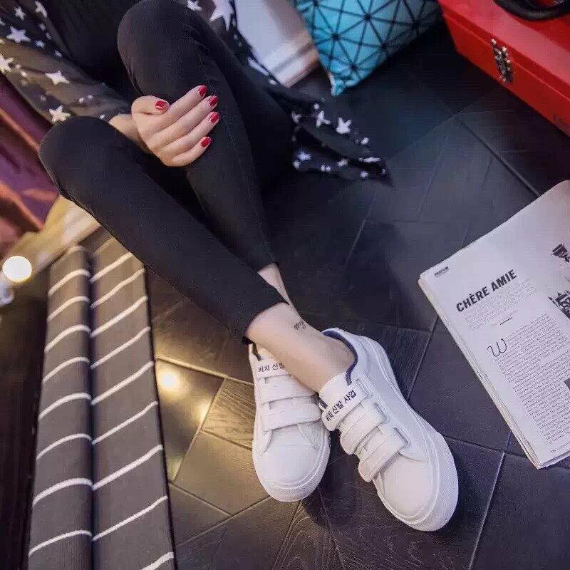 格子舖*【AA3823】基本款百搭時尚簡約 魔鬼氈穿拖 布面鞋帆布鞋 3色 4