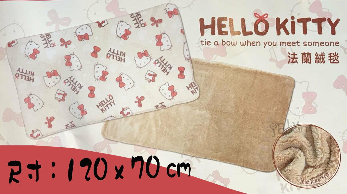 【真愛日本】18012600002 法蘭絨毯120x70cm-KT多頭紅結米 kitty 法蘭絨羊羔絨 雙面保暖毯
