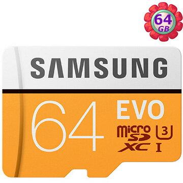 SAMSUNG 64GB 64G microSDXC【100MB/s EVO】EVO microSD SDXC U3 C10 4K MB-MP64GA 手機記憶卡