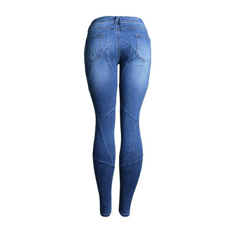 牛仔褲丹寧小腳褲-交叉縫線低腰彈力女長褲73wx15【獨家進口】【米蘭精品】 1