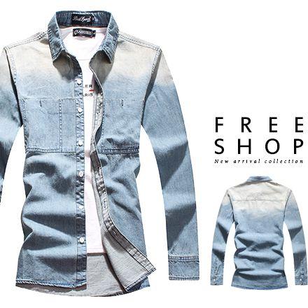 Free Shop 型男英倫雅痞修身 木扣 水洗漸層藍色系單寧牛仔襯衫 有大 ~QJFK4