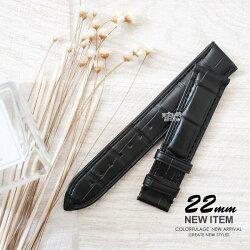 【完全計時】手錶館│Panerai 沛納海代用 進口高級真鱷魚錶帶 22mm限量 質感黑車線