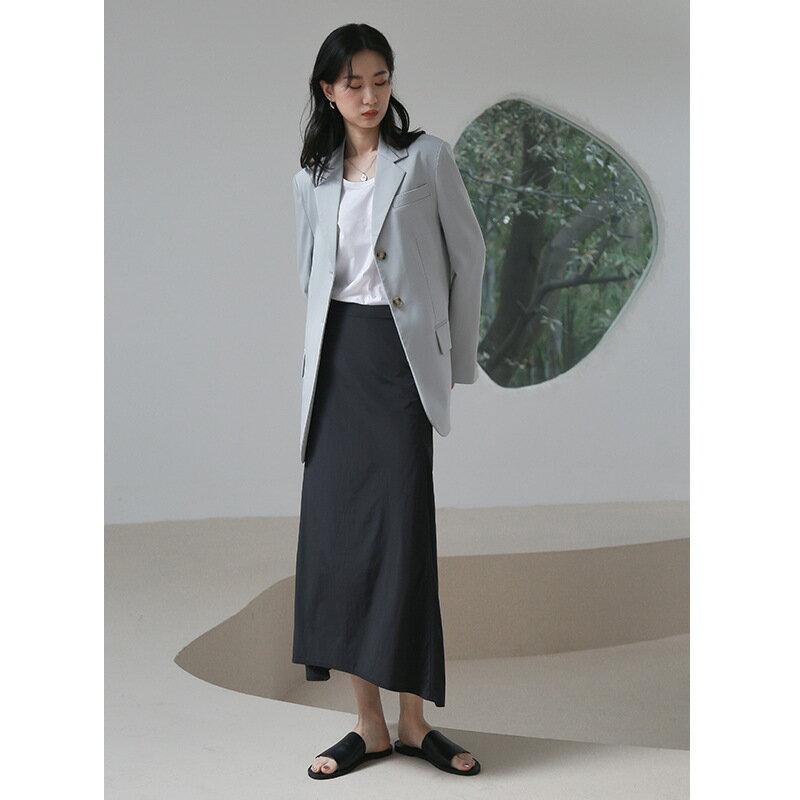2021春季新款氣質中長款半身裙休閒百搭A字裙女女裝