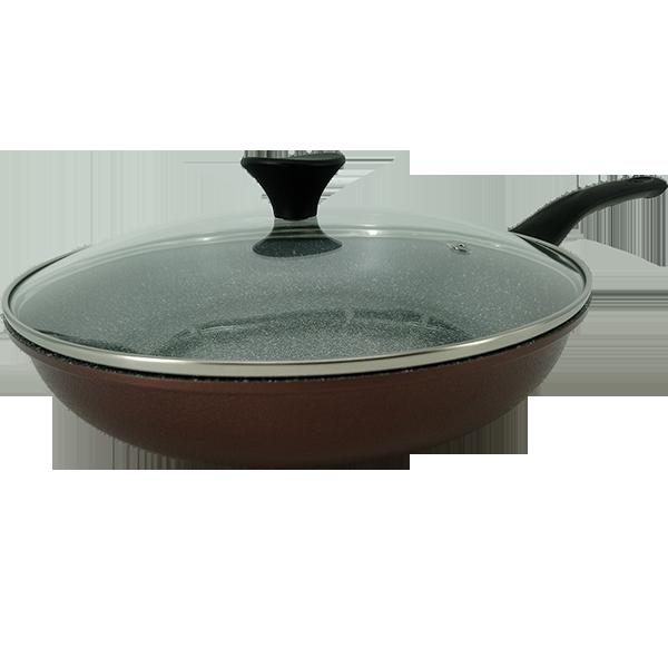【30CM 酒紅色平底鍋】韓國ECORAMIC鈦晶石頭抗菌不沾鍋   (無附鍋蓋) 【樂活生活館】