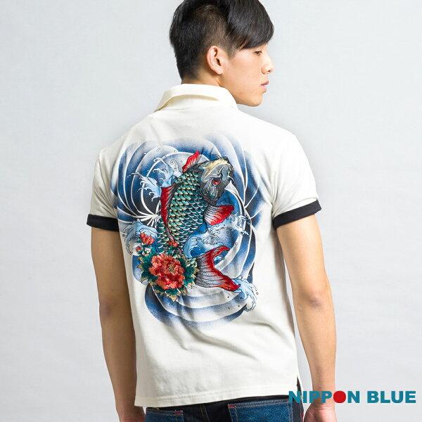 金標精繡鯉魚POLO衫(白)-BLUEWAYNIPPONBLUE日本藍