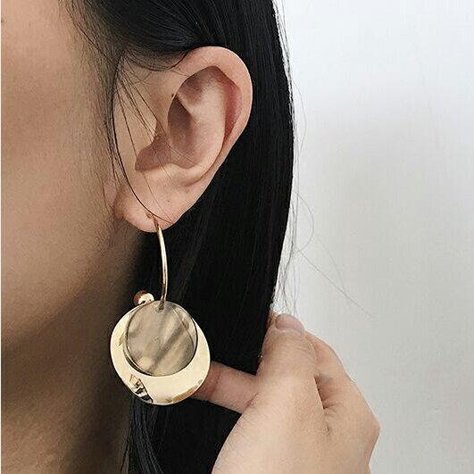 77美妝:氣質壓克力紋理雙層耳環耳針MHJ3404