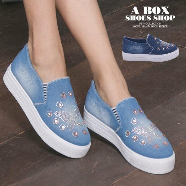 【AS505】水鑽蝴蝶刷色牛仔布破壞 V口鬆緊厚底增高3.5cm帆布鞋 懶人鞋 2色