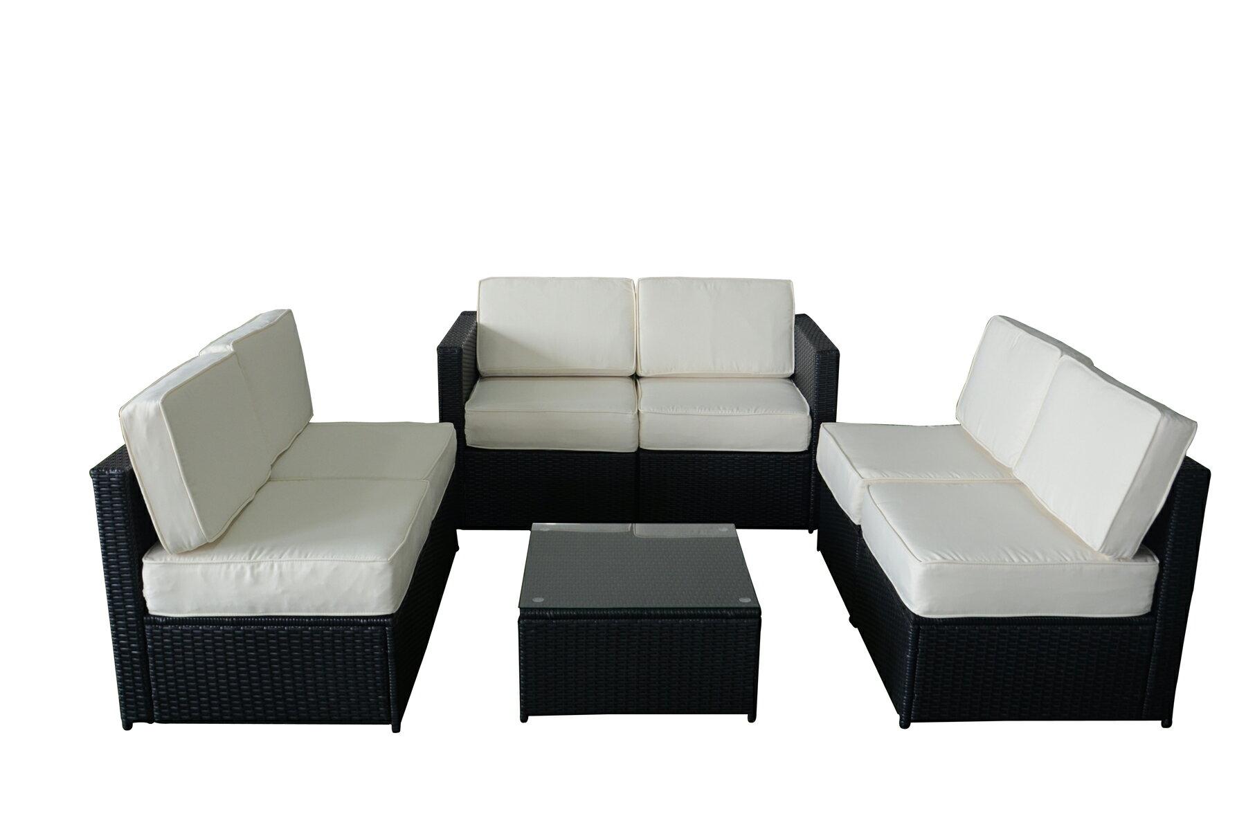 MCombo 7pcs Black Wicker White Cushion Patio Sectional Outdoor Sofa  Furniture Set 6085 S1007