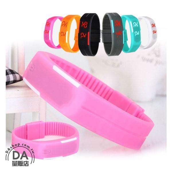 《DA量販店》馬卡龍 LED 觸控 手錶 果凍錶 運動 手環 手鐲 粉紅色(V50-1121)