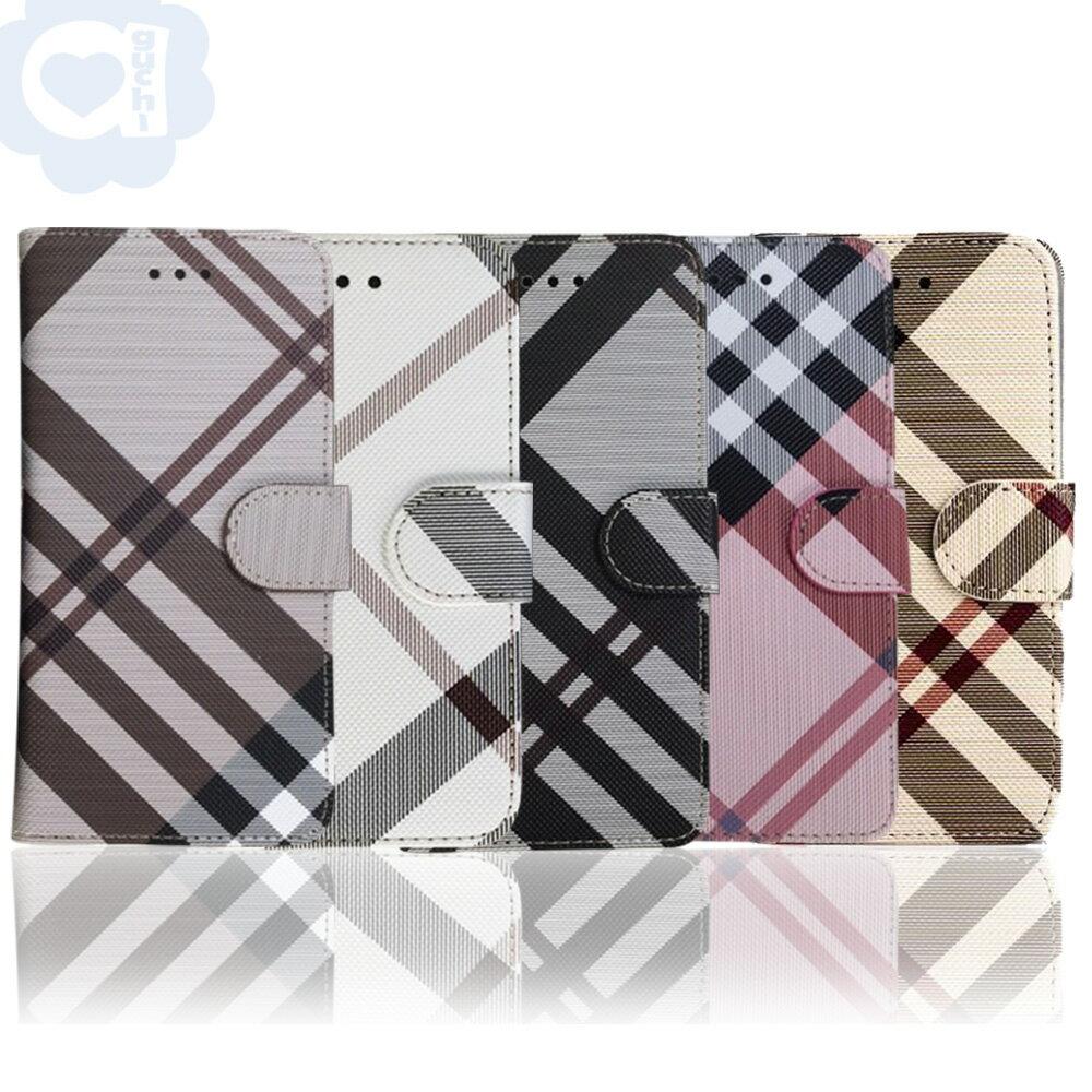 Apple iPhone 6 Plus/6s Plus 英倫格紋氣質手機皮套 側掀磁扣支架式皮套 矽膠軟殼 5色可選 0